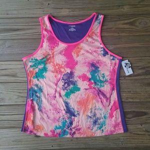 Tops - splatter watercolor workout athletic tank plus 3X
